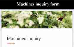 machine inquiry form