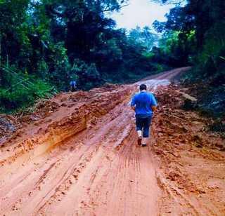 Guinea rain forest where my Timberlands got stuck in mud
