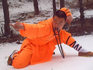 Monk crouching