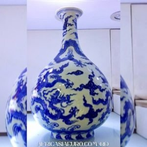 Blue dragon pear shaped vase