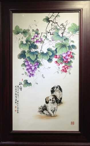 two dogs painting on white porcelain