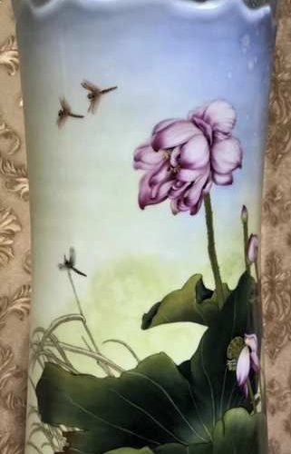 Hand Painted Flower Vase With Blossoms Porcelain Art