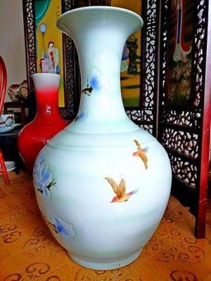white blue vases large
